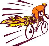 Cyclist racing with jet engine on bicycle isolated on white woodcut style