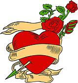heart with flores illustration