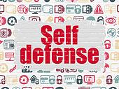 Safety concept: Self Defense on wall background
