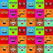 Funny hipster monster faces seamless background