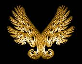 Golden Angel Wings Emblem over Black