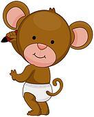 Baby Monkey Writing