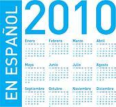 Blue Calendar for 2010 in spanish
