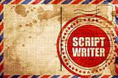 script writer, red grunge stamp on an airmail background