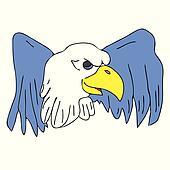 bird eagle hawk falcon with wings for tattoo drawing cartoon log