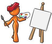Design Mascot Woman Painter