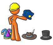Design Mascot Holding Hats