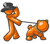 Orange Man Top Hat Bulldog