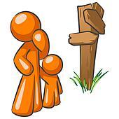 Orange Man and Toddler at Crossroads