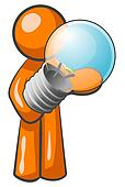 Orange Man Holding Light Bulb