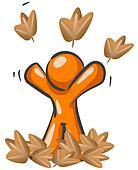 Orange Man Playing in Leaves