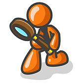 Orange Man Detective with Magnifying Glass