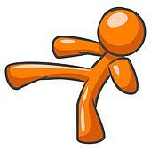 Orange Man Karate Kick