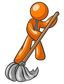 Orange Man Mopping Floor