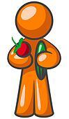Orange Man Fruits and vegetables.