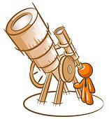 Orange Man Old Telescope