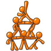 Orange Man Human Pyramid