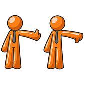 Orange Man Critics Thumbs Up Thumbs Down