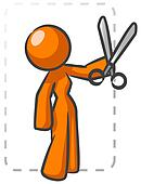 Orange Lady Coupon Cutting