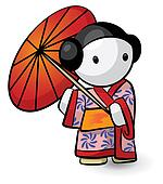 Geisha Holding Umbrella In Kimono Looking Cute