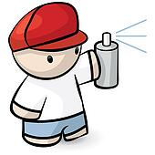 Cute Kid Spraypaint Vandal