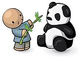Chinese Man Feeding Panda Bamboo
