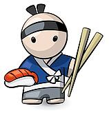 Sushi Chef Holding Large Chopsticks and Food