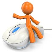 3D Orange Man Sitting On Computer Mouse
