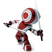 Glossy Red Robot Ninja Holding Katanas