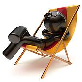 Chilling relaxing carefree man sunburn beach deck chair icon