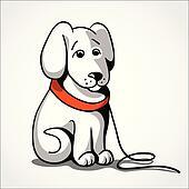 Lost sad dog vector illustration