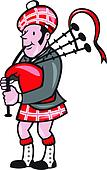 Scotsman Bagpiper Bagpipes Cartoon