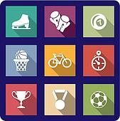 Flat sporting icons set