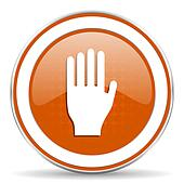 stop orange icon hand sign