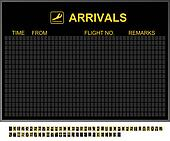 Empty International Airport Arrivals Board