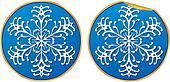 Snowflake round sticker vector