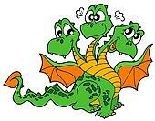 Cute three headed dragon