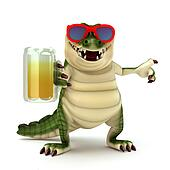 Croc with glass of beer