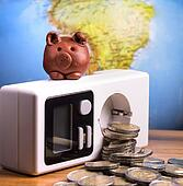 Brown piggy on electric meter