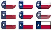 nine glass buttons of the Flag of Texas