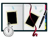 Stopwatch, paperclips, notebook with bookmark