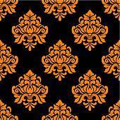 Black and orange seamless floral pattern