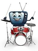 TV character with drum set