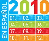 Colorful Calendar for 2010, in Spanish