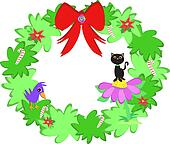 Christmas Wreath with Cat and Bird