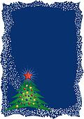 Christmas tree frame on blue background