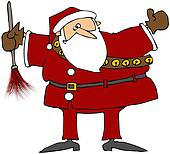 Santa With A Feather Duster