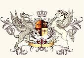 Heraldic design with griffin and ho