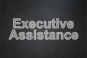 Finance concept: Executive Assistance on chalkboard background