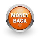 money back orange glossy web icon